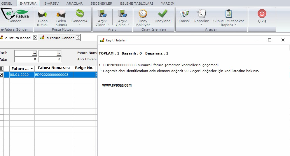 geçersiz cbc IdentificationCode elmanı değeri
